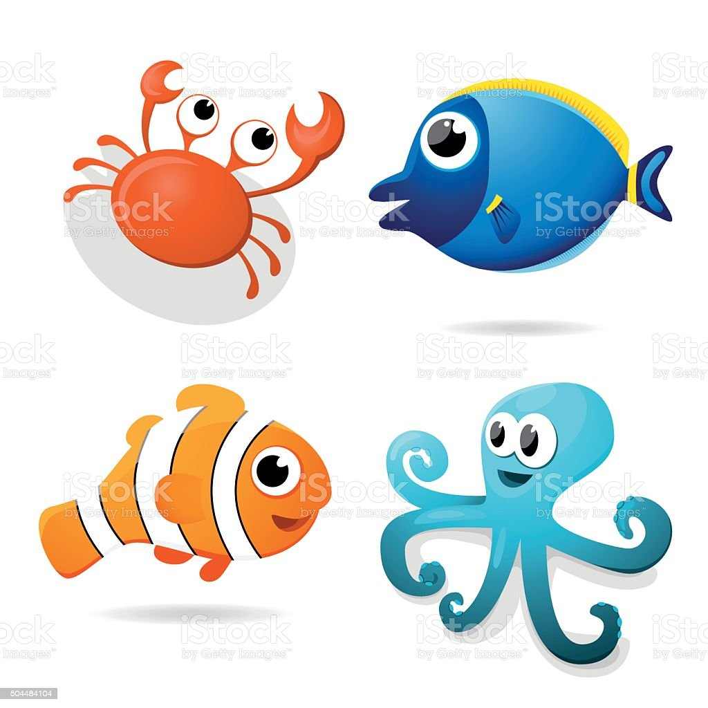 Cartoon sea animals vector art illustration