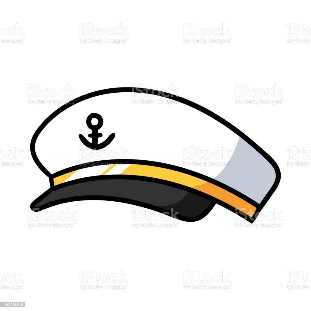 Cartoon Sea Captain Hat Stock Illustration - Download Image