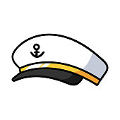 Cartoon Sea Captain Hat
