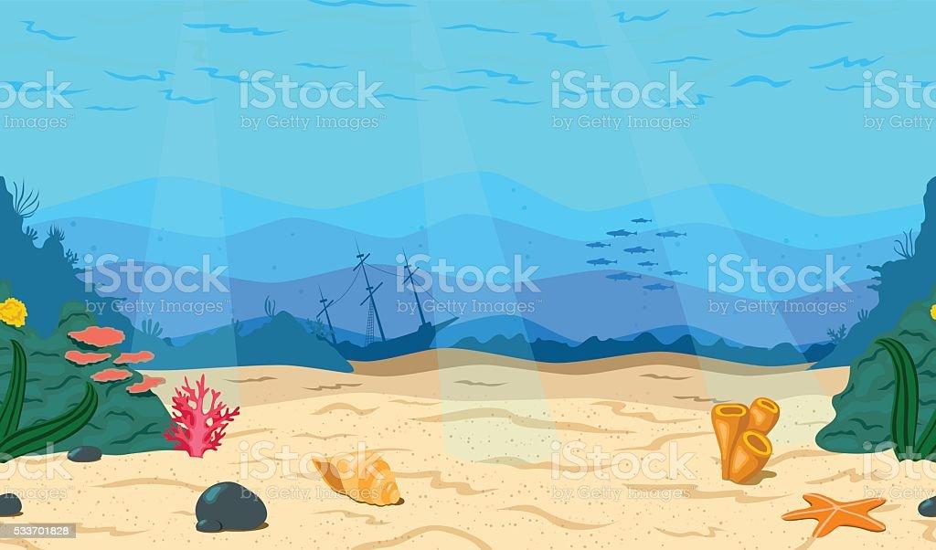 Cartoon Sea Ocean Underwater Stock Vector Art & More ...