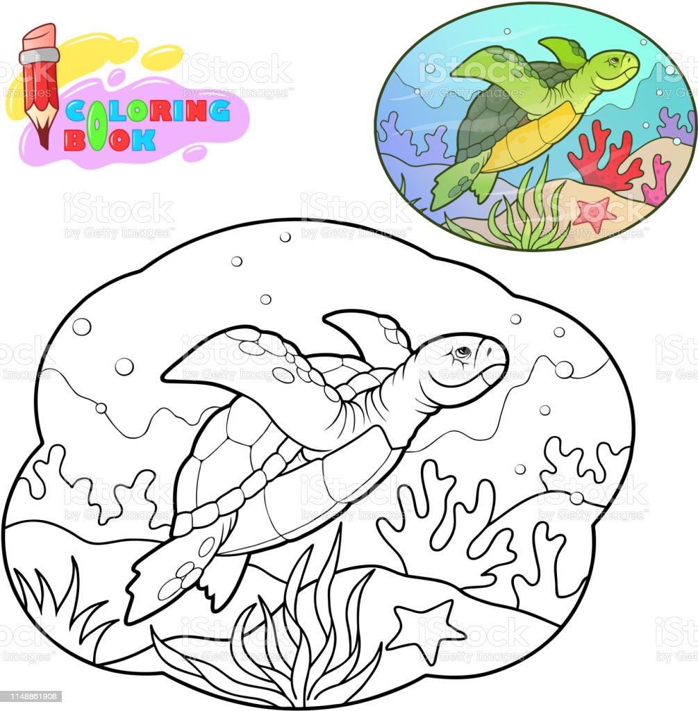 Cartoon Sea Turtle Coloring Book Funny Illustration Stock