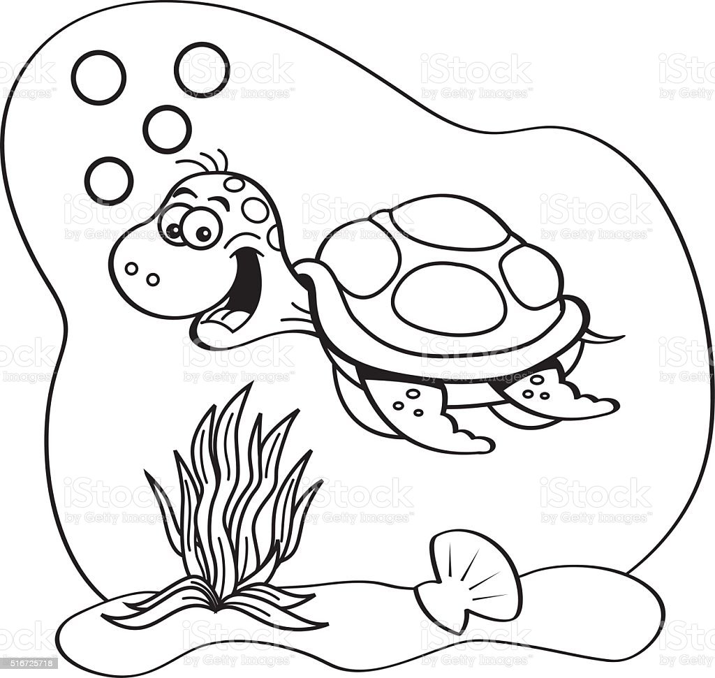Cartoon Sea Turtle Black And White | cartoon.ankaperla.com Underwater Clipart Black And White