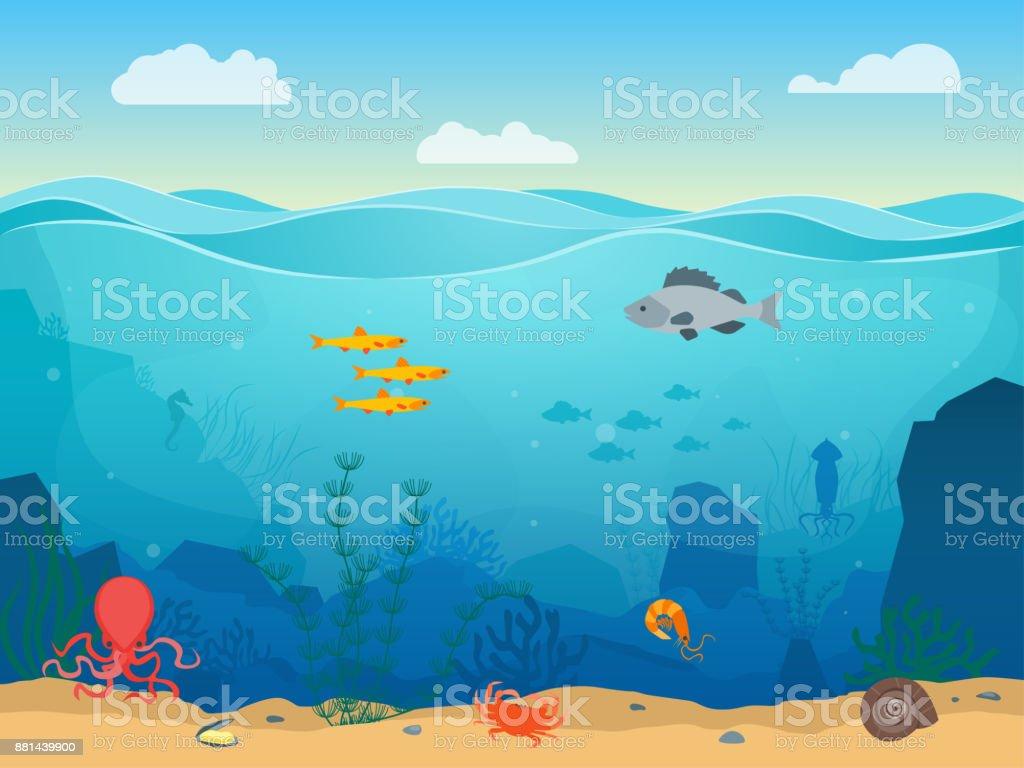 Fond de couleur dessin animé mer scène sous-marine. Vector - Illustration vectorielle