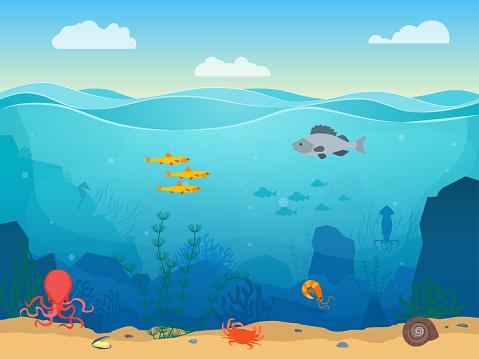 Cartoon Sea Underwater Scene Color Background Vector - Immagini vettoriali stock e altre immagini di Acqua