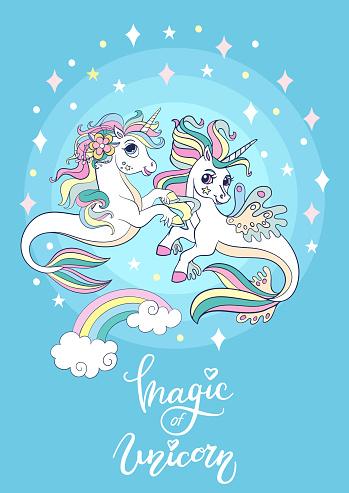 Cartoon sea unicorns vector poster on blue background