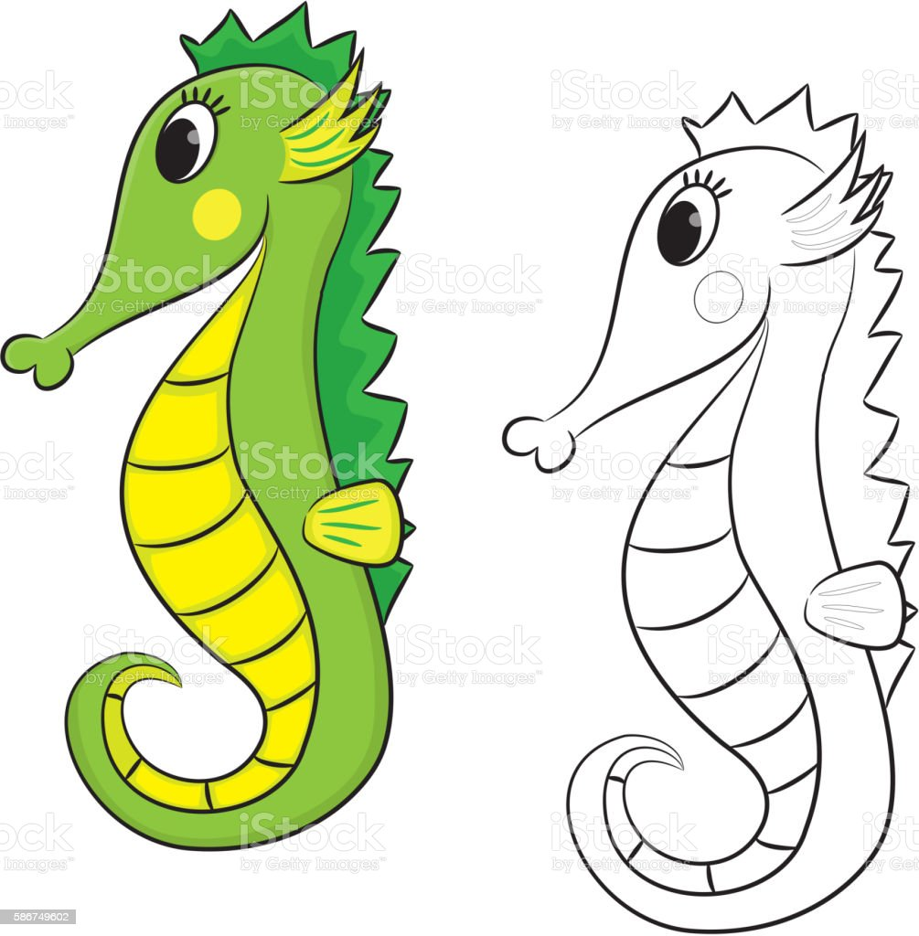 Cartoon Seahorse Coloring Book Stock Illustration Download Image Now Istock