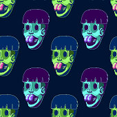 Cartoon seamless illustration - Zombie head. Faces without eyes with protruding tongue.