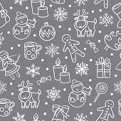 Cartoon seamless pattern. Merry Christmas and Happy new year!