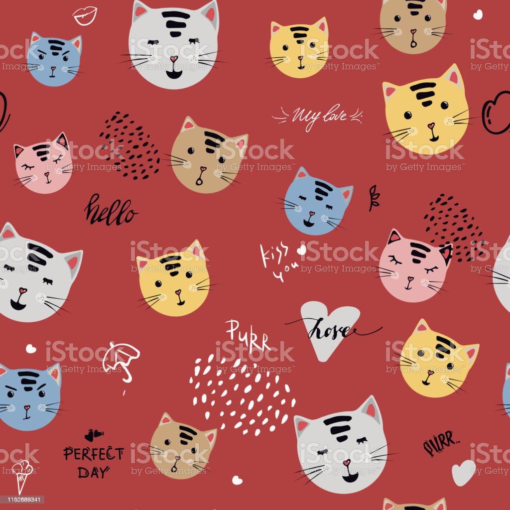 かわいい猫の頭の漫画シームレスなパターンベクターイラストアニマルシルエット壁紙プリントデザイン猫子供は T シャツファブリックデザインと装飾に印刷します ちょう結びのベクターアート素材や画像を多数ご用意 Istock