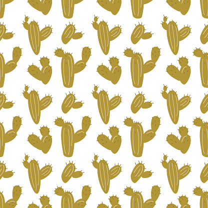 Cartoon seamless pattern with cactuses.