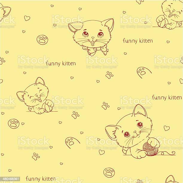 Cartoon seamless pattern with cute catsny cats vector id480468361?b=1&k=6&m=480468361&s=612x612&h=unmnjihh484rzjbwg4yaqpbgsco0twt7om lceozayo=