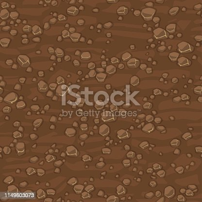 Cartoon seamless texture ground with small stones for concept design. Cute seamless pattern brown stone. Seamless vector texture. Stones on separate layers.