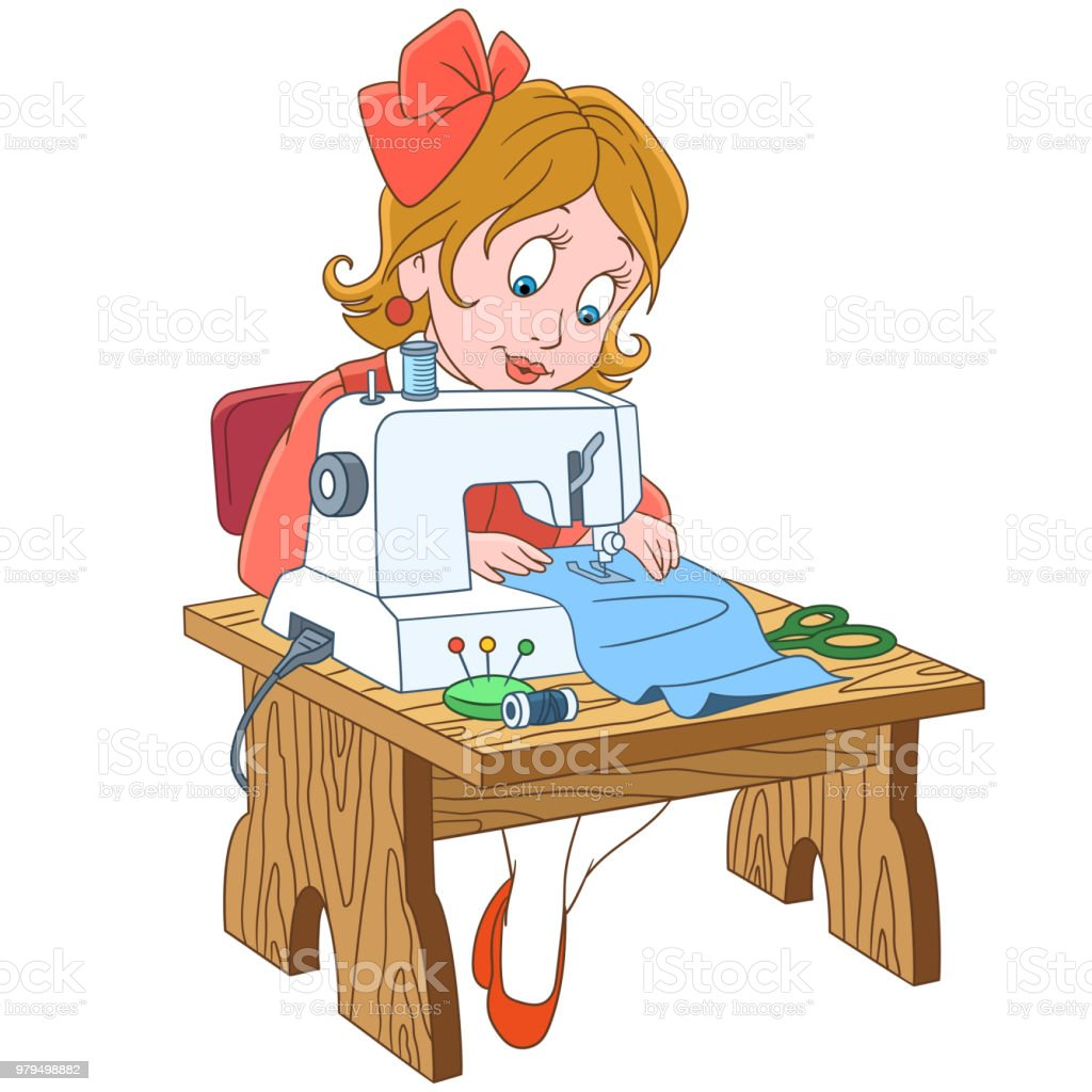 Cartoon Seamstress Tailor Working On Electric Sewing Machine Stock Illustration Download Image Now Istock