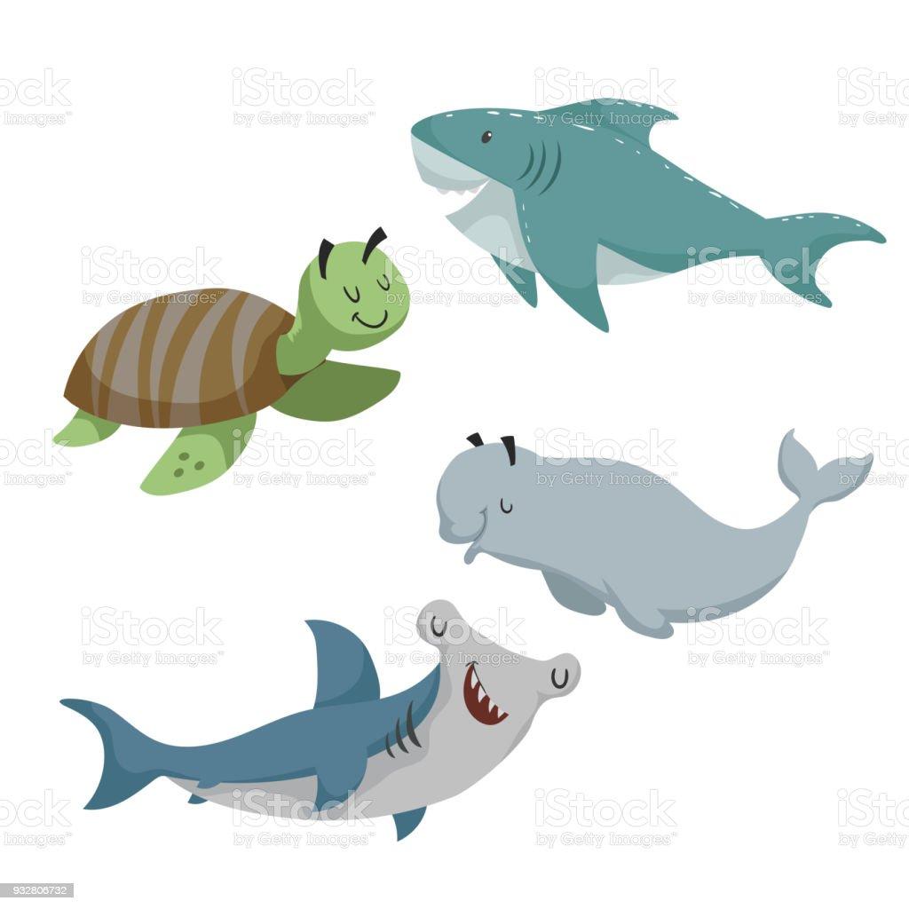 Ilustración de Conjunto De Animales Sean De Dibujos Animados Tortuga ...