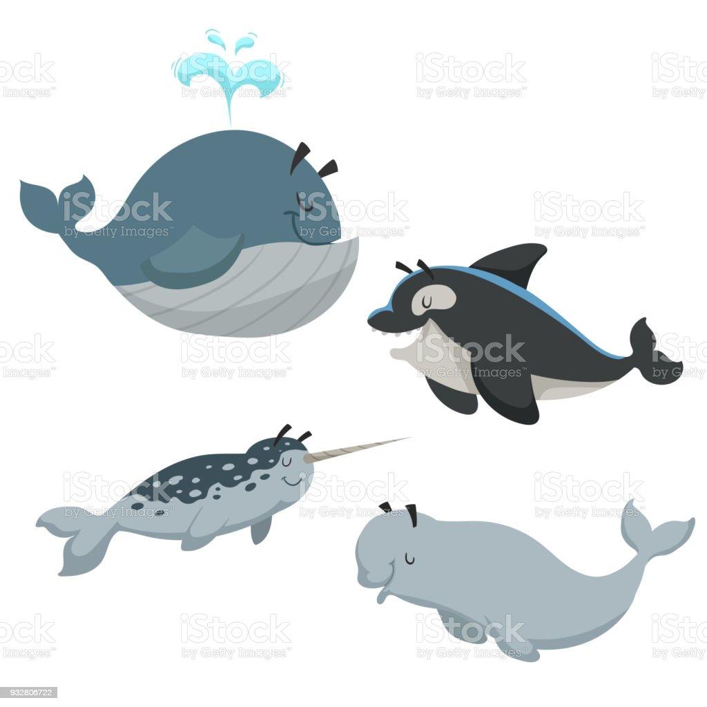 Cartoonsean Tiere Gesetzt Wal Mit Brunnen Killerwal Orca Weiße ...