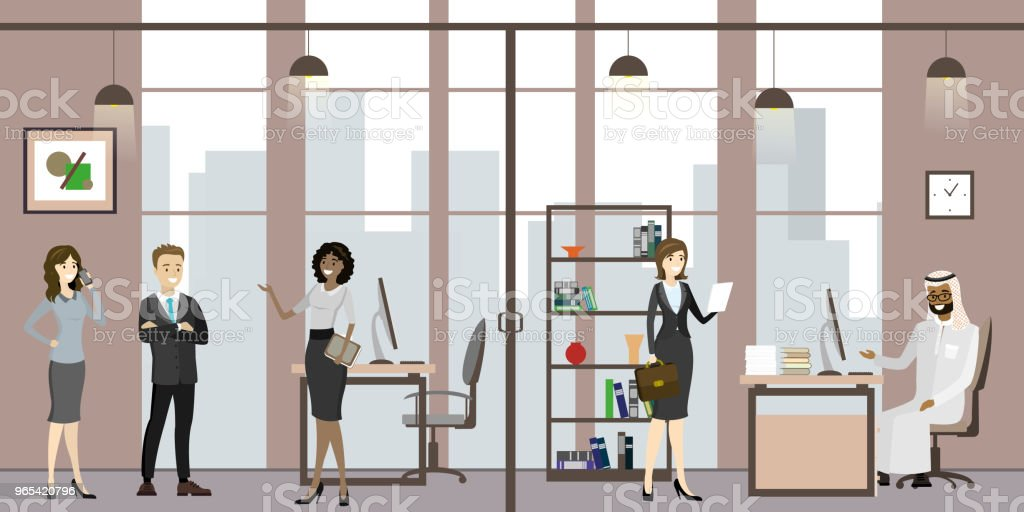 Cartoon secretary with people and business meeting at office royalty-free cartoon secretary with people and business meeting at office stock vector art & more images of adult