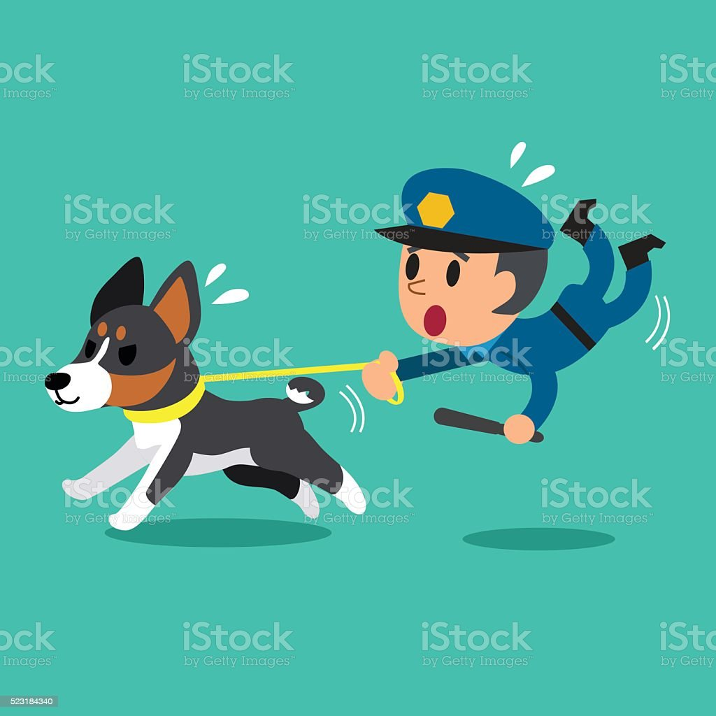cartoon security guard policeman with police guard dog stock vector