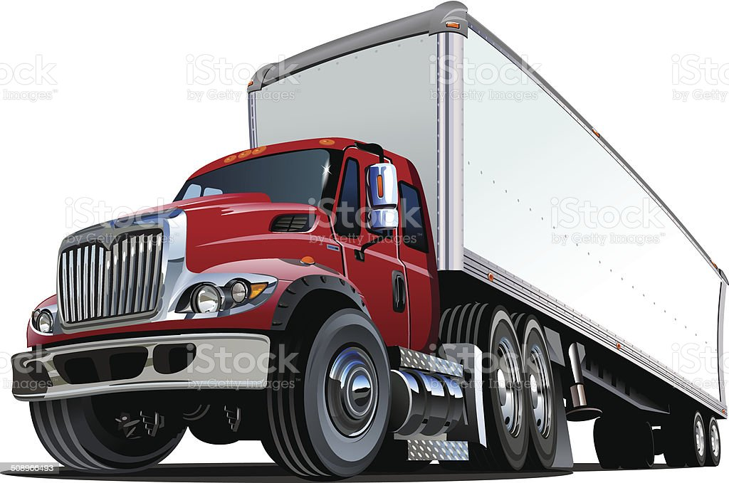 Cartoon semi truck vector art illustration