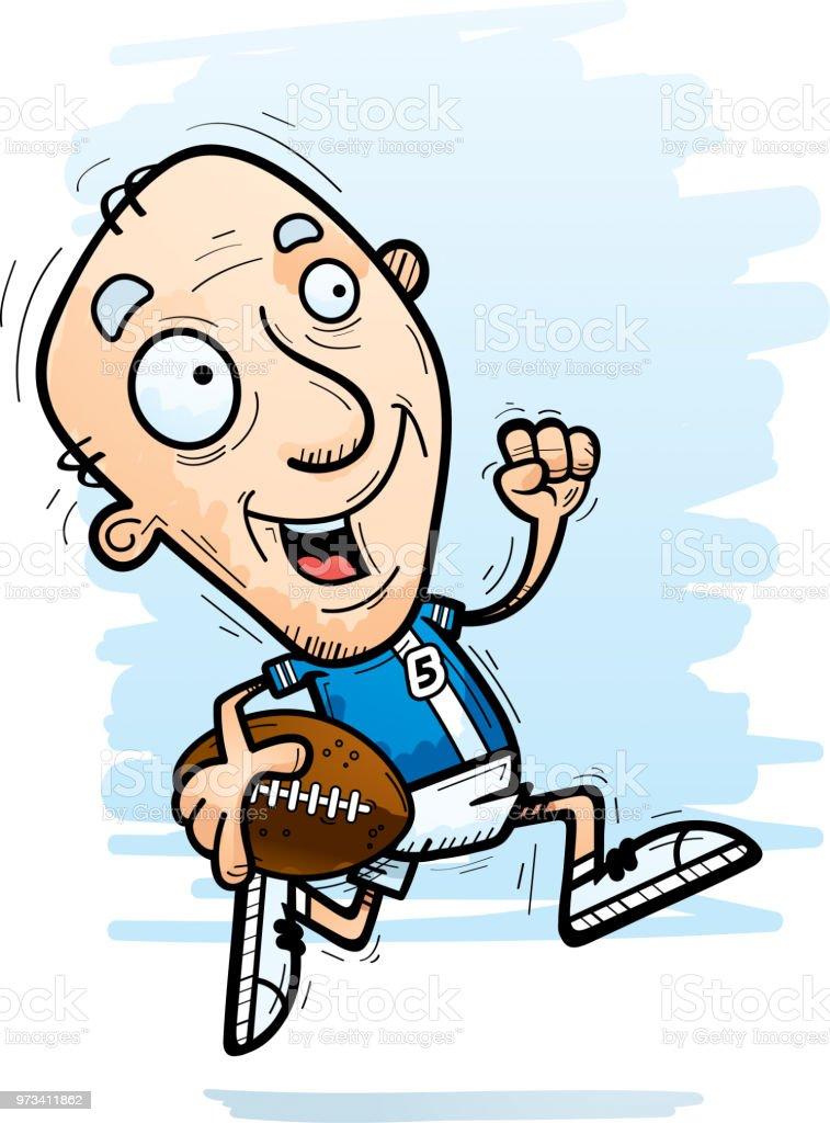 Cartoon Senior Fussball Spieler Laufen Stock Vektor Art Und