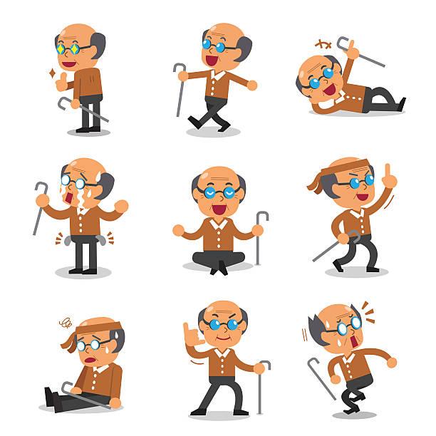 cartoon senior man character poses - old man crying clip art stock illustrations, clip art, cartoons, & icons