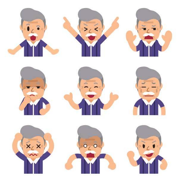 cartoon senior man faces showing different emotions - old man funny cartoon stock illustrations, clip art, cartoons, & icons