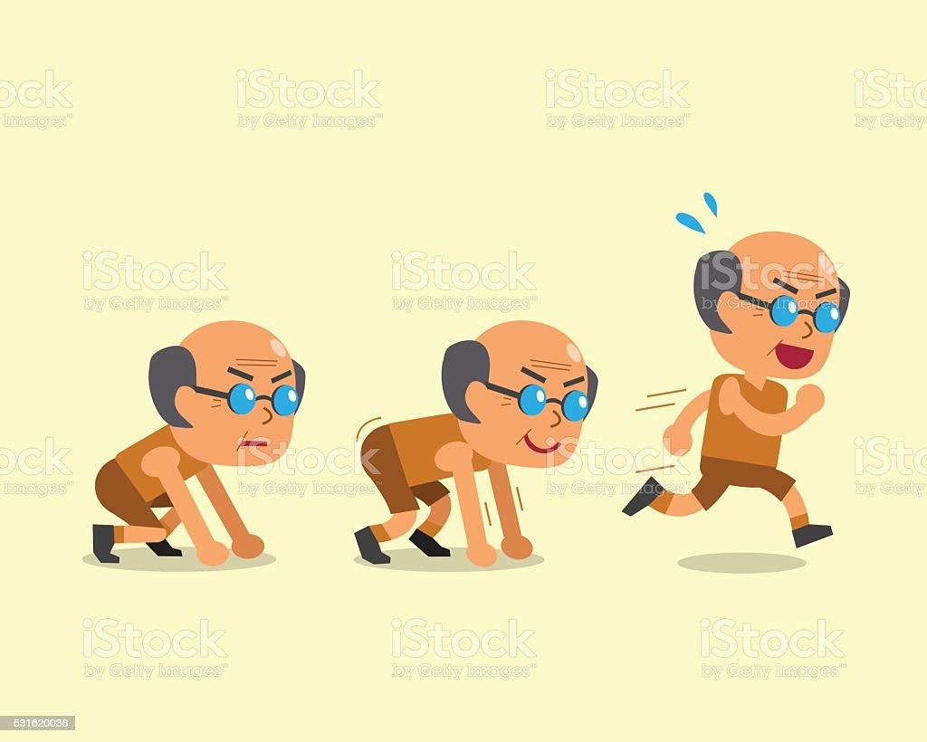 Cartoon senior man running step vector art illustration
