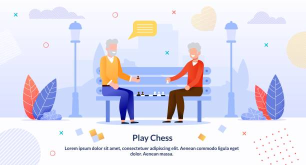 cartoon senior men playing chess in park poster - old man playing chess cartoon stock illustrations, clip art, cartoons, & icons