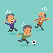 Cartoon senior men playing football