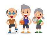 Cartoon senior sport people