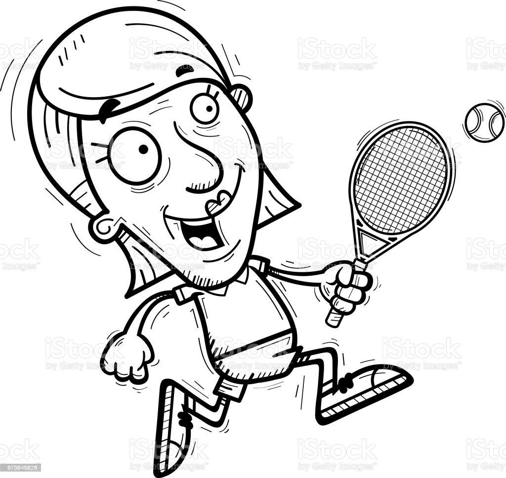 Cartoon Senior Tennis Spieler laufen - Lizenzfrei Alt Vektorgrafik