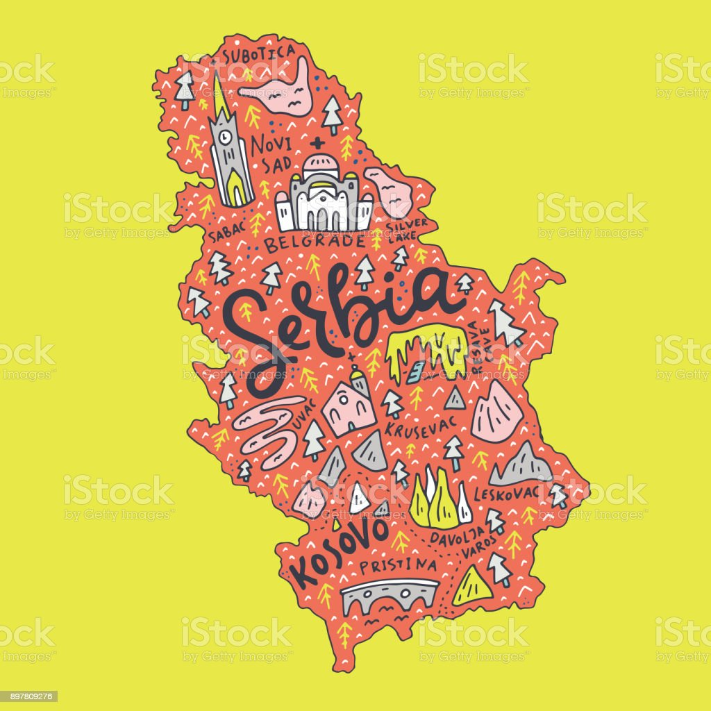 Cartoon Serbia Map royalty-free cartoon serbia map stock illustration - download image now