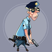 cartoon serious man in police uniform holding a gun