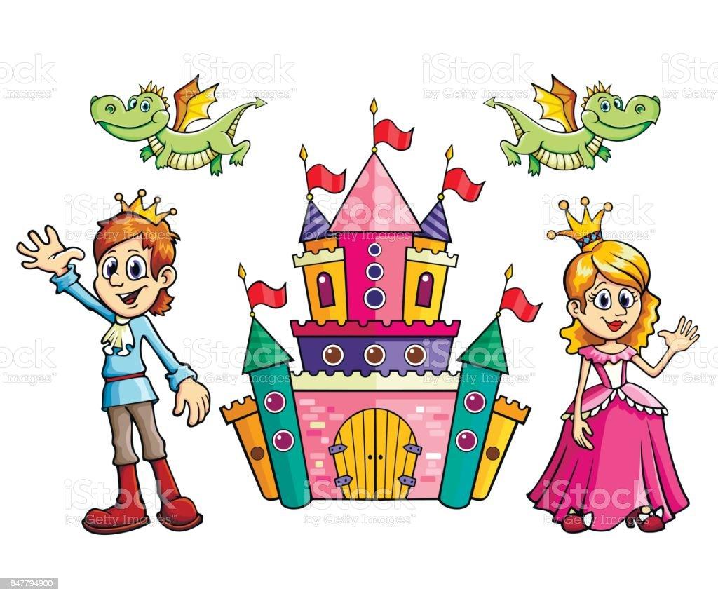 Jeu De Dessin Animé Dans Vecteur Prince Princesse Château Et Dragon Vecteurs Libres De Droits Et Plus D Images Vectorielles De Adolescent