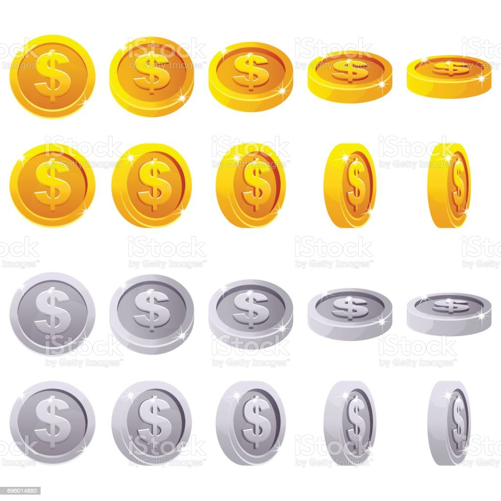 Cartoon set of 3D metallic coins, vector animation game rotation vector art illustration