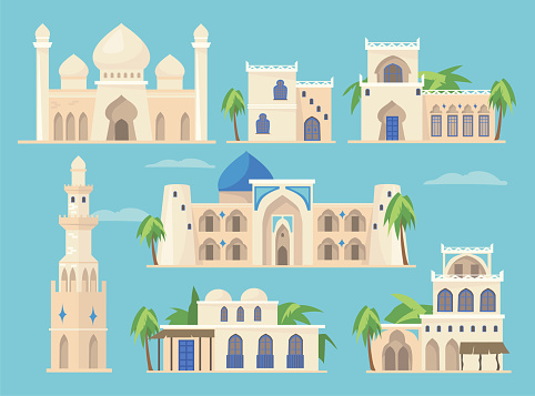 Cartoon set of different Arabic buildings in traditional style