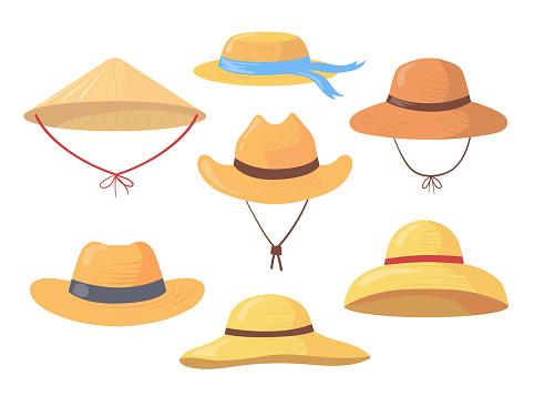 Cartoon set of different farmer straw hats