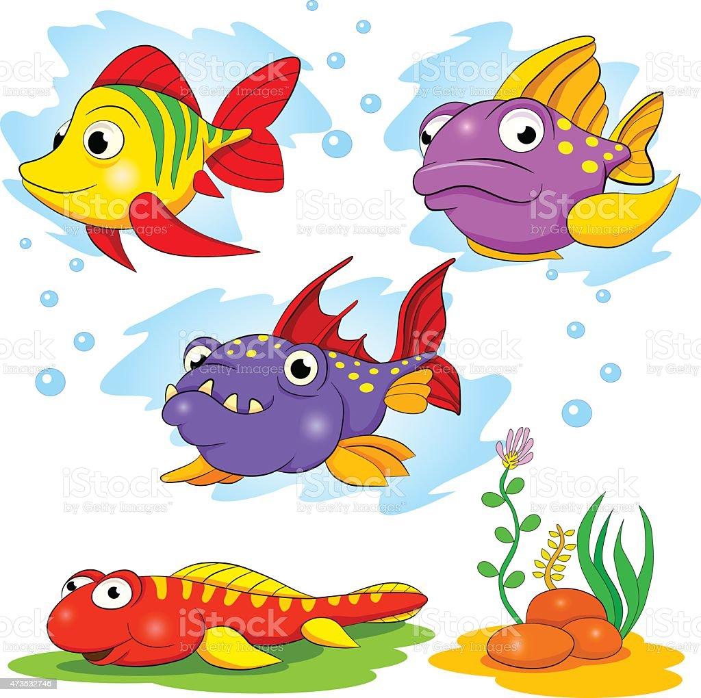 Set de dessin anim dr le de couleur de poissons - Poisson dessin couleur ...