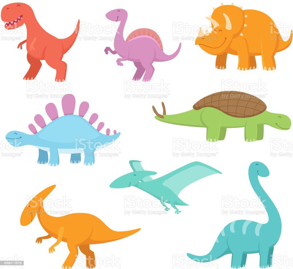 Vetores De Conjunto De Desenhos Animados De Dinossauros Engracados