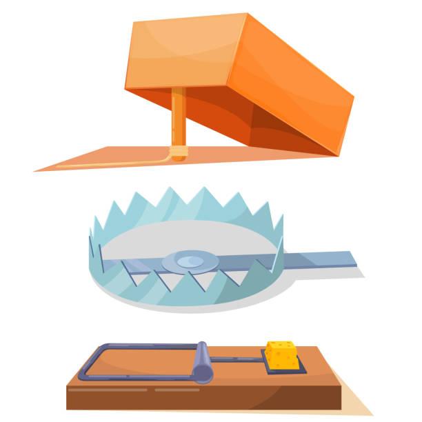 illustrazioni stock, clip art, cartoni animati e icone di tendenza di cartoon set of icon traps - trappola per topi