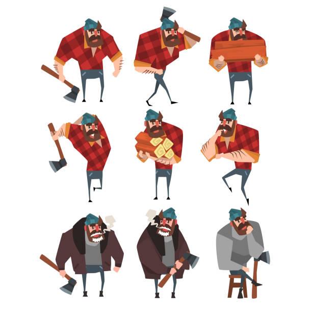 illustrations, cliparts, dessins animés et icônes de jeu de dessin animé de bûcheron dans différentes actions. bûcheron avec une hache. strong barbu homme en chemise à carreaux hipster, jeans, pull, veste, chapeau. design plat vector - man axe wood