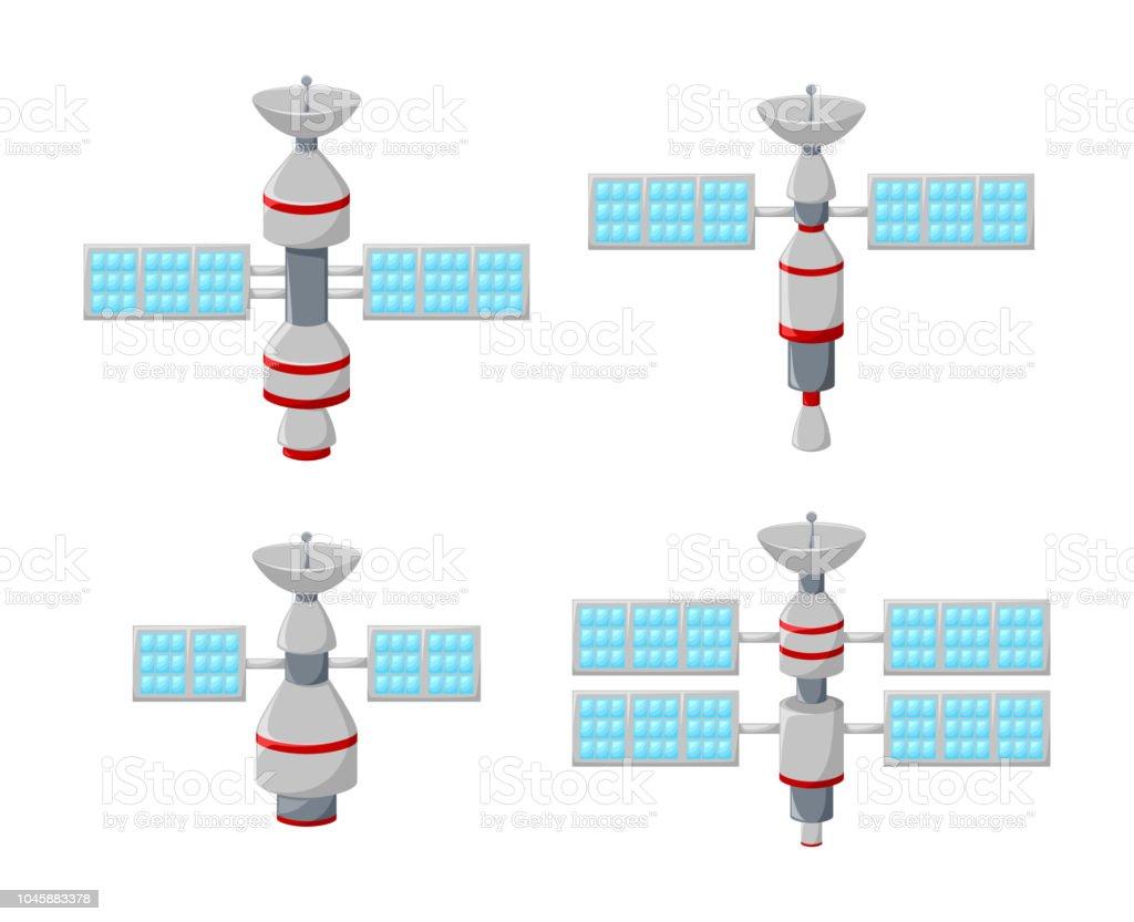Cartoon Set Of Satellite Icons Isolated On White Background Stock Free Illustration Solar System Orbit Diagram Digital Royalty