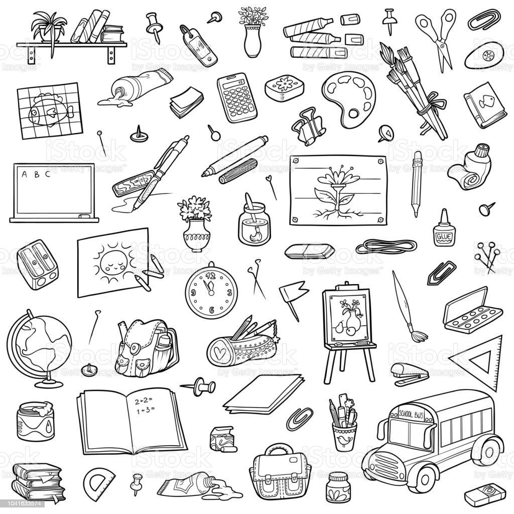 Ilustración De Conjunto De Objetos De La Escuela De Dibujos Animados