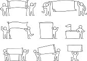 Cartoon set of sketch little people with blank spaces.