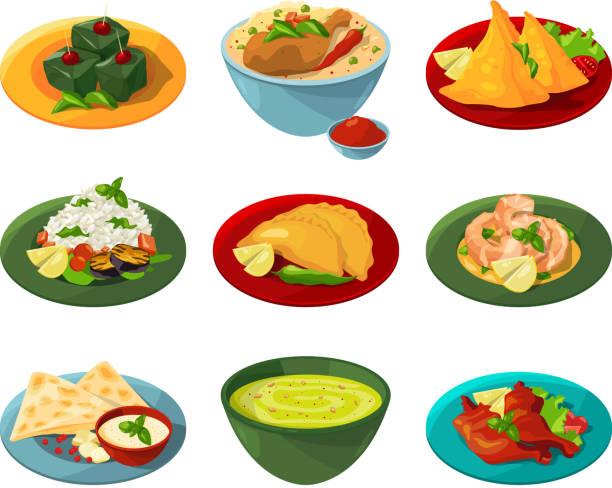 ilustraciones, imágenes clip art, dibujos animados e iconos de stock de conjunto de dibujos animados de comida india tradicional en platos diferentes - comida india