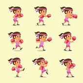 Cartoon set of woman doing kickboxing workout for design.