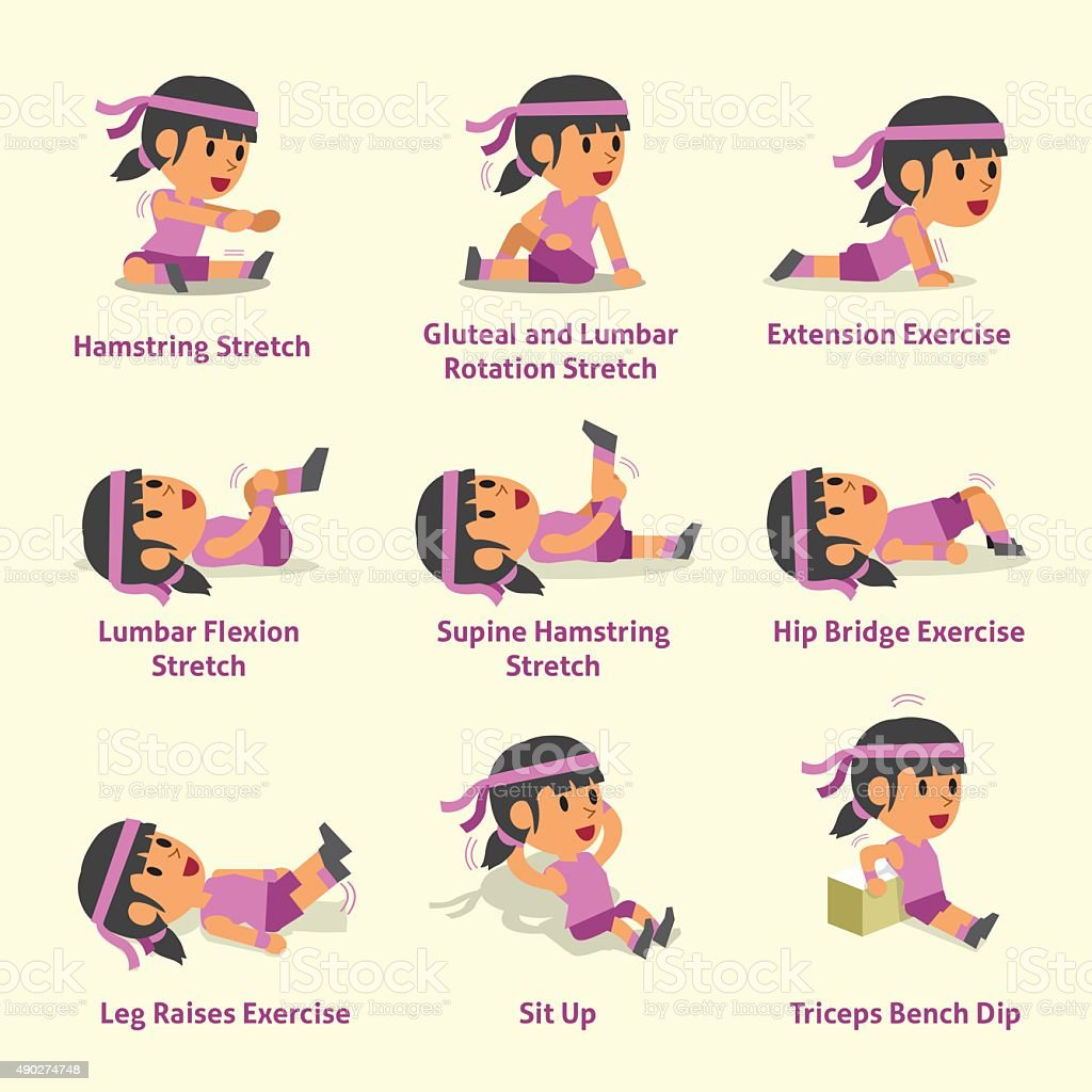 Cartoon Set Of Woman Doing Warmup And Exercises Stock ...