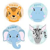 Cartoon set Vector Animals face,four objects. Leopard, hippo, elephant, zebra.