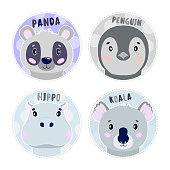 Cartoon set Vector Animals face,four objects panda, koala, hippo, penguin Illustration