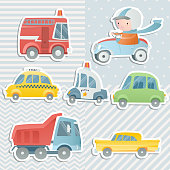 Cartoon set with  a boy driving a car and cars. Digital scrapbooking.