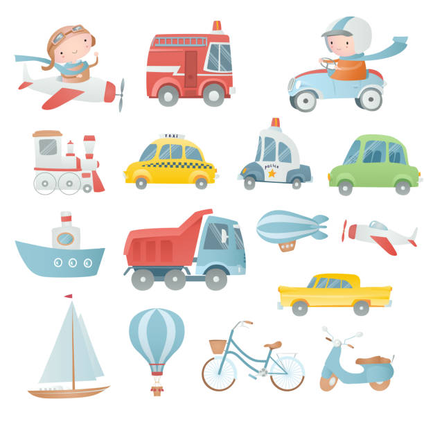 Cartoon set with  a pilot, a driver and transport. Cartoon set with  a pilot, a driver and transport. bedroom patterns stock illustrations